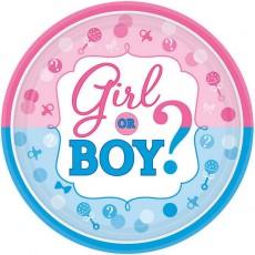 Round Gender Reveal Girl or Boy? Lunch Plates 17cm Pack of 8