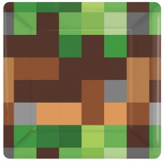 Square Minecraft TNT Lunch Plates 17cm Pack of 8