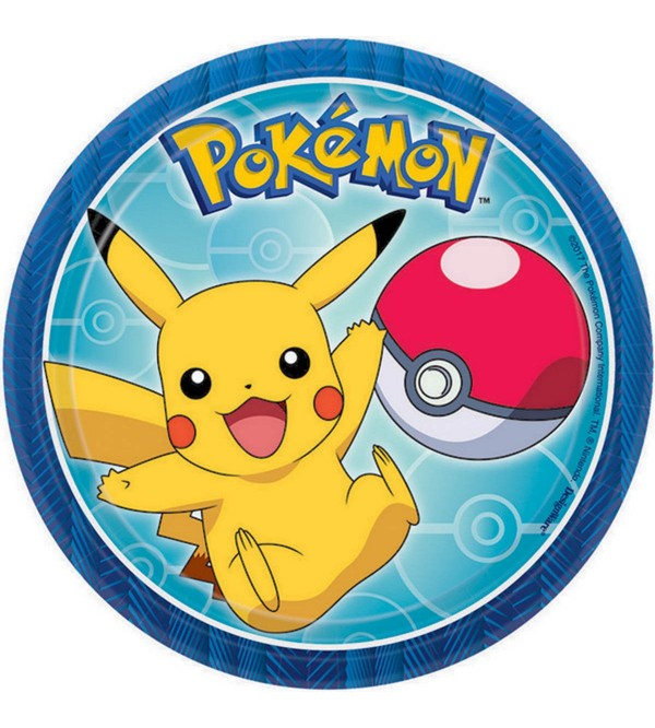 Pokemon Lunch Plates 18cm Pack of 8 Round