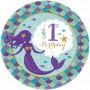 Round Mermaid Wishes Metallic 1st Birthday Lunch Plates 17cm Pack of 8