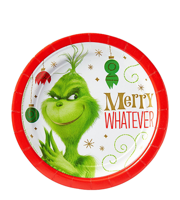 Round Christmas Dr. Seuss The Grinch Movie Merry Whatever Lunch Plates 17cm Pack of 8