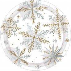 Christmas Party Supplies - Lunch Plates Shining Showflakes