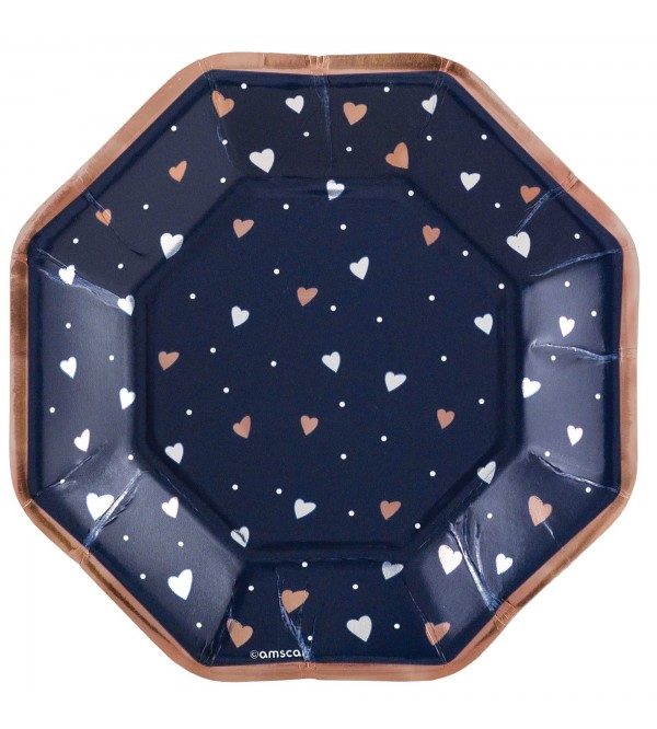 Octagonal Bridal Shower Navy Bride Metallic Lunch Plates 17cm Pack of 8