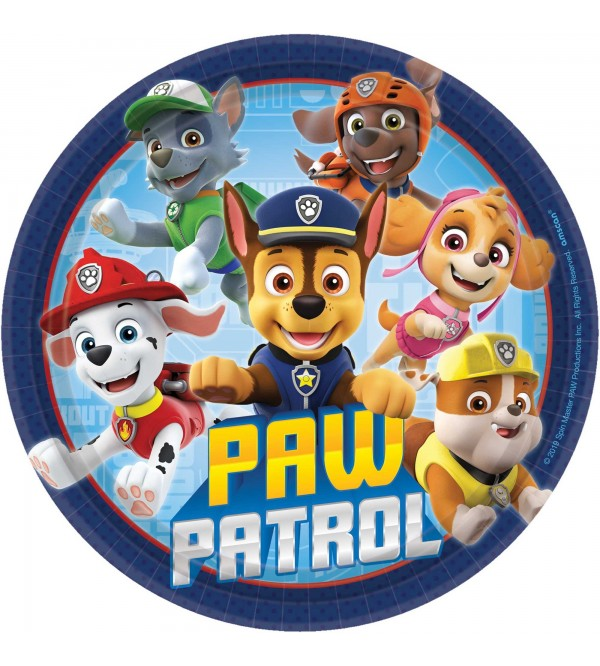 Round Paw Patrol Adv Lunch Plates 17.7cm Pack of 8