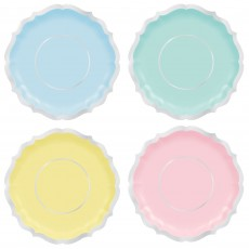 Pastel Party Party Supplies - Lunch Plates Pretty Pastels Shaped