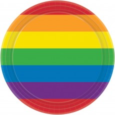 Round Rainbow Paper Lunch Plates 17cm Pack of 8