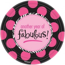 Round Fabulous Birthday Another Year of Fabulous Lunch Plates 17cm Pack of 8