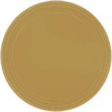 Round Gold Dinner Plates 23cm Pack of 8