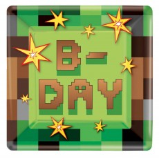 Square Minecraft TNT B-Day Dinner Plates 23cm Pack of 8