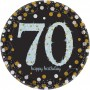 Round 70th Birthday Sparkling Celebration Prismatic i Dinner Plates 23cm Pack of 8
