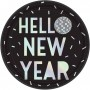 Round New Year Disco Ball Drop Dinner Plates 23cm Pack of 8