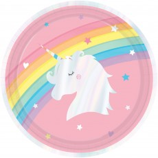 Magical Rainbow Iridescent Paper Dinner Plates 22cm Pack of 8