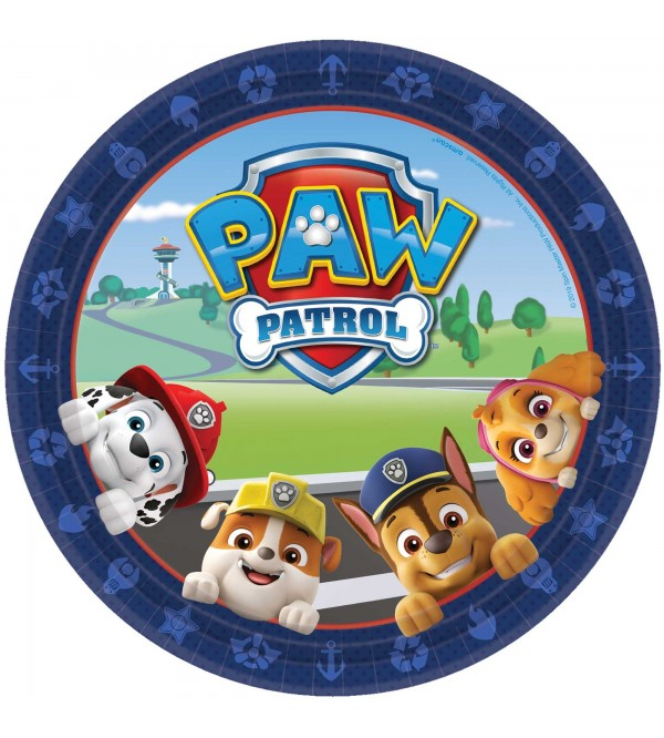 Round Paw Patrol Adv Dinner Plates 23cm Pack of 8