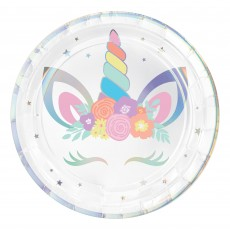 Unicorn Fantasy Party Supplies - Dinner Plates Iridescent