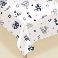 Hanukkah Party Supplies - Plastic Table Cover Flannel Backed