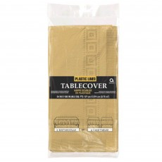 Gold Plastic Lined Table Cover 1.37m x 2.74m