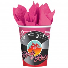 Rock n Roll Classic 50's Paper Cups 266ml Pack of 8