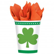 St Patrick's day Lucky Shamrocks Paper Cups 266ml Pack of 8