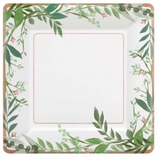 Square Bridal Shower Love and Leaves Metallic Paper Dinner Plates 25cm Pack of 8