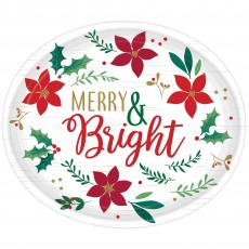 Oval Christmas Chritmas Wishes Merry & Bright Banquet Plates 30cm x 25cm Pack of 8