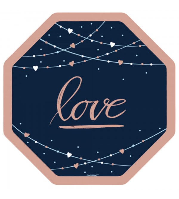 Octagonal Bridal Shower Navy Bride Metallic Love Banquet Plates 25cm Pack of 8