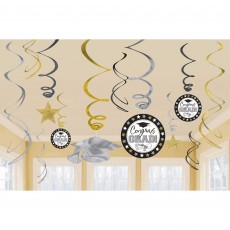 Black, Silver & Gold Graduation Swirl Congrats Grad! Hanging Decorations Pack of 12