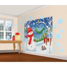 Christmas Snowman & Winter Friends Wall Decorating Kits Pack of 32