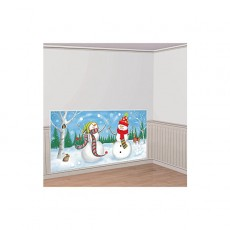 Christmas Whimsical Snowmen Add On Wall Scene Setter 85cm x 165cm