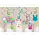 Easter Hanging Decorations Swirls Happy Easter! Pack of 12