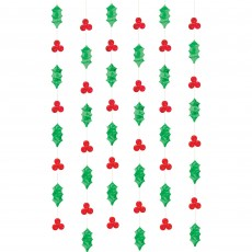 Christmas Holly & Berries Foil String Hanging Decorations 2.13m Pack of 6
