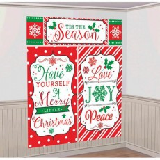 Merry Christmas Tis The Season Scene Setters Wall Tis the Season Decorating Kits Pack of 5
