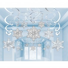 Christmas Party Decorations - Hanging Snowflakes Swirl Silver & White