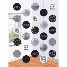 New Year Disco Ball Drop String Hanging Decorations 1.52m Pack of 5