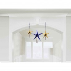 Midnight New Year's Eve 3D Foil Star Hanging Decorations Pack of 3