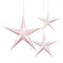 Iridescent White & Pink 3D Star Hanging Decorations Pack of 3
