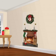 Christmas Party Decorations - Scene Setter Fireplace Add-On Wall