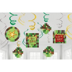Minecraft TNT Swirl Hanging Decorations Pack of 12