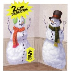 Christmas Snowman Add On Wall Scene Setters 85cm x 165cm Pack of 2