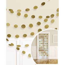 Glitter Gold Round String Hanging Decorations 2.1m Pack of 6