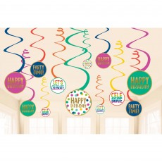 Dots Party Decorations - Hanging Decorations Happy Dots Spiral Swirls