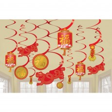 Chinese New Year Swirl Hanging Decorations Pack of 12