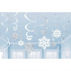 Christmas Party Decorations - Hanging Decorations Snowflakes Swirl