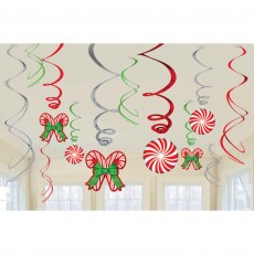 Christmas Candy Cane Foil Swirl Hanging Decorations Pack of 12