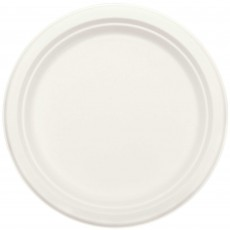 Round White Eco Party Sugar Cane Dinner Plates 25cm Pack of 50