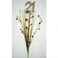 Gold 21st Birthday Onion Pick Spangle