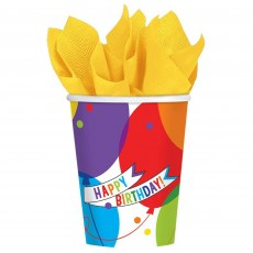 Balloon Bash Brilliant Paper Cups 266ml Pack of 18