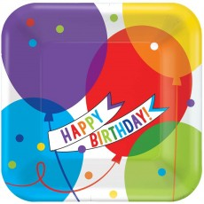 Square Balloon Bash Brilliant Lunch Plates 17cm Pack of 18