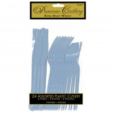 Pastel Blue Heavy Weight Cutlery Sets Pack of 24