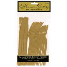 Gold Premium Heavy Weight Plastic Cutlery Sets Pack of 24