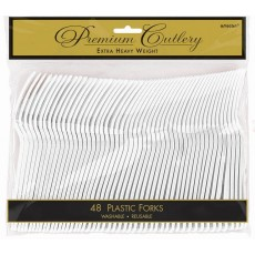 Frosty White Premium Heavy Weight Plastic Forks Pack of 48